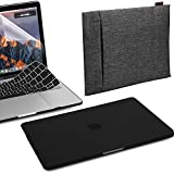 GMYLE MacBook Pro 13 Case 2018 2017 2016 Release A1989/A1706/A1708 with/Without Touch Bar, 4 in 1 Black Set Hard Plastic Case with Keyboard Cover & Screen Protector & Double Canvas Laptop Sleeve Bag