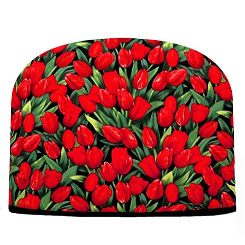 Blue Moon Red Tulips Tea Cozy Double Insulated Tea Cozy Blue Moon Tea Cozy by Blue Moon Fine Teas