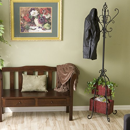 Amazon.com: SEI metal Scroll Hall Tree Escudo con 2 cestas de mimbre de almacenamiento, Negro: Health & Personal Care