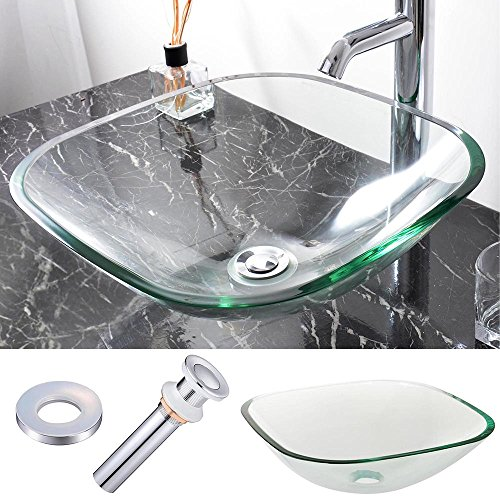 Aquaterior Square Tempered Glass Vessel Sink Basin with Chrome Mounting Ring and 1 1/2