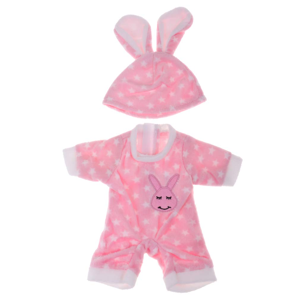 P Prettyia Stylish Soft Flannel Round Collar Jumpsuit Rabbit Hat Suit For Mellchan Newborn Baby Dolls Clothes Accessories Pink