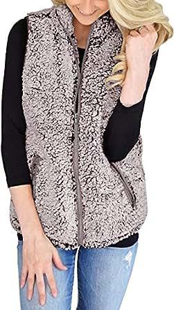 AIMICO Women's Slim Open Front Sleeveless Cardigan Fuzzy Zipper Sherpa Fleece Oversized Vest Pockets Coffe XS Coffee