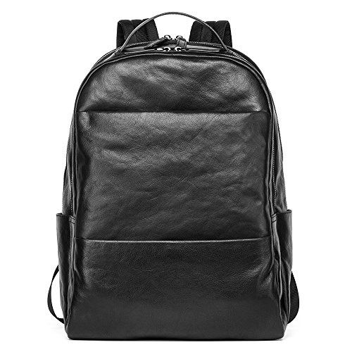 Sharkborough Men's Backpack Genuine Leather Bag Extra Capacity Casual Daypacks by Sharkborough