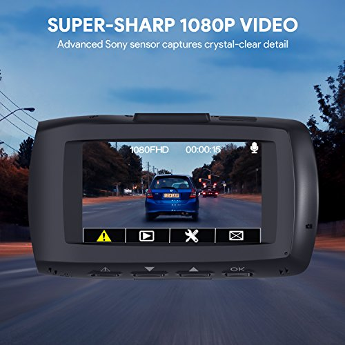 """AUKEY 1080p Dual Dash Cams with 2.7"""" Screen, Full HD Front and Rear Camera, 6-Lane 170° Wide-Angle Lens, G-Sensor, and Dual-Port Car Charger by AUKEY (Image #3)"""