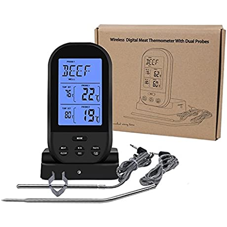 AROMEE Wireless Remote Digital Cooking Food Meat Thermometer Dual Probe For BBQ Grill Oven Smoker Monitors Up To 230 Feet Away 2 Probes Included Black