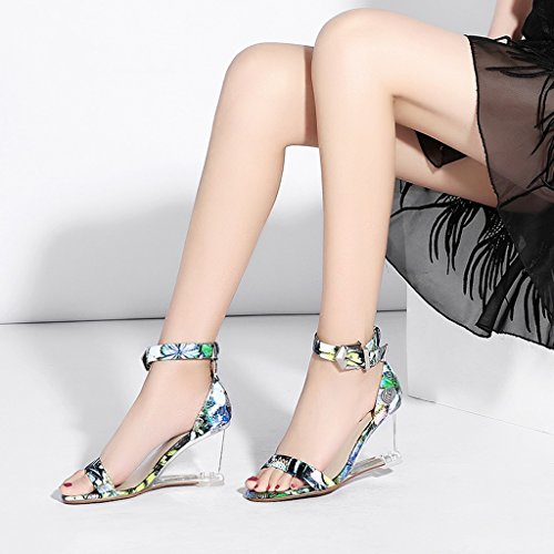 Toe Shoes Slope Wrap Heeled High Summer Female Heeled Open High Blue Heel Crystal Printing Slippers Sandals Heel AUw0Hqw