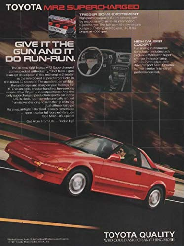Magazine Print Ad: Red 1988 Toyota MR2 Supercharged,