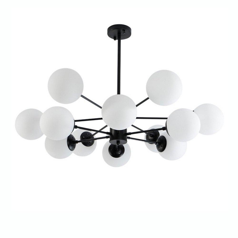 Modern Kronleuchter Deckenlampe Metall Lampe mit 12 flammig Glas Lampenschirm Pendelleuchte Schwarz E27 für Wohnzimmer Schlafzimmer Esszimmer Esstisch