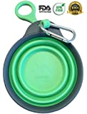 Collapsible Silicone Bowl / Water Travel Dish for Dogs or Cats, Plus Patent-pending Bottle Holder & Clip for On-the-Go use - 12oz - Green - Eco-Friendly - BPA Free - FDA Approved - By nudogs