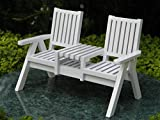 Miniature Dollhouse Fairy Garden Furniture White Wood Adirondack Loveseat