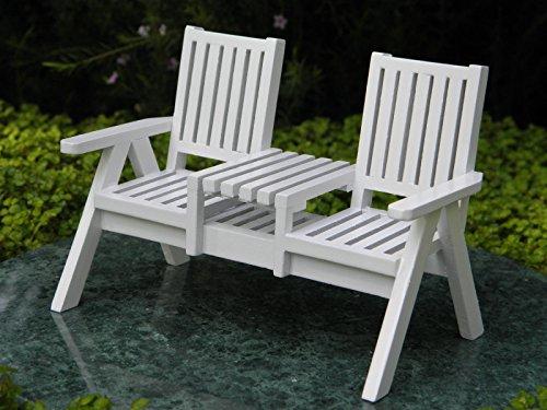 (Miniature Dollhouse Fairy Garden Furniture White Wood Adirondack Loveseat)