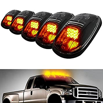 Amazon ijdmtoy 5pcs amber led cab roof top marker running ijdmtoy 5pcs amber led cab roof top marker running lights for truck suv 4x4 black sciox Choice Image