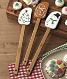 "Spoonula Holiday Gift Set of three (3) – Silicone head – 12 "" bamboo handle – Gingerbread man; Snowman; Christmas Tree –Stocking Stuffer, Hostess Gift or gift tie-on! Cross between spoon & spatula. Scoop, smooth & stir your holiday treats with these festive tools!"