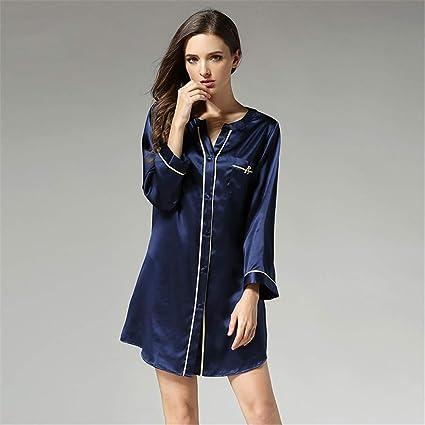BUTTERFLYSILK Camisa de Noche para Mujer, camisón de Seda 100% Camisa de Dormir de Manga Larga Camisón de Mujer Camisa de Dormir Abotonada Ropa de Dormir Ropa de Dormir,Azul,M: Amazon.es: Hogar