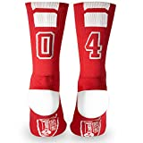 Custom Team Number Crew Socks   Athletic Socks by ChalkTalkSPORTS   Red   04