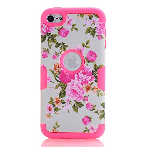 iPod Touch 6 Case,SAVYOU Flower Pattern Dual Layer Verge Hyb