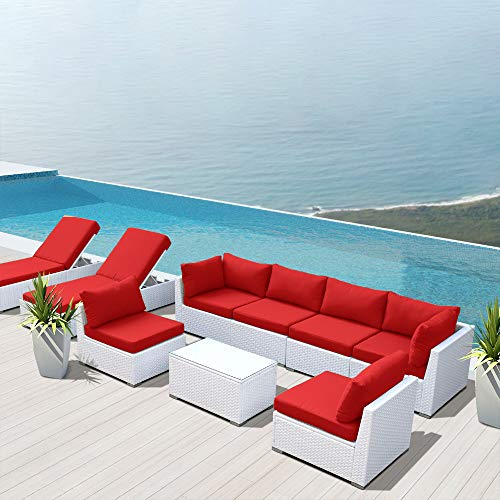Dineli Outdoor Sectional Sofa Patio Furniture White Wicker