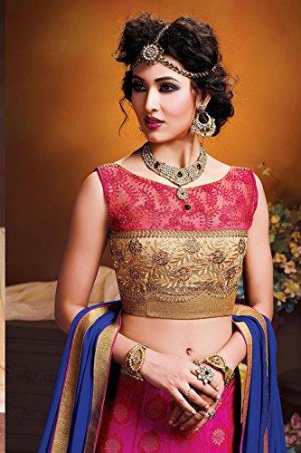 Indian Women Designer Wedding Magenta Lehenga Choli Fabz-2599