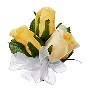 Yellow Silk Rose Corsage - Wedding Corsage Prom 20