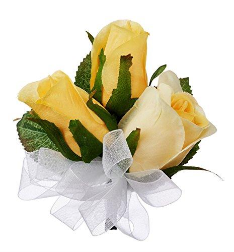 Yellow Silk Rose Corsage - Wedding Corsage Prom ()
