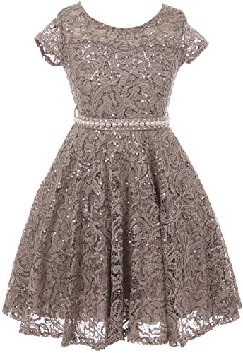 BNY Corner Big Girl Cap Sleeve Floral Lace Glitter Pearl Holiday Party Flower Girl Dress Silver 16 JKS 2102
