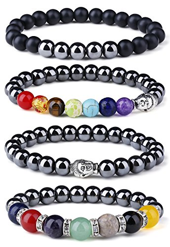LOYALLOOK 4Pcs Chakra Hematite Bracelet Healing Magnetic Therapy Stretch Stone Beaded Bracelet Balancing (Magnetic Beaded Therapy Bracelets)