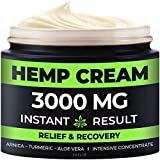 Hemp Pain Relief Cream - 3000 Mg - Relieve Muscle, Joint & Arthritis Pain - Natural Hemp Extract for Arthritis, Foot & Back Pain - 2oz