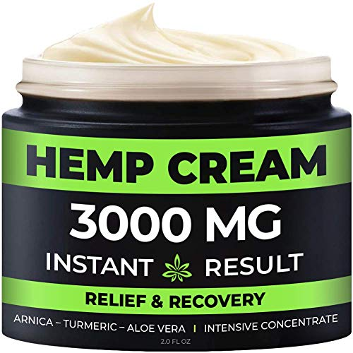 Instant Hemp Pain Relief Cream - 3000 Mg - Relieve Muscle, Joint & Arthritis Pain - Natural Hemp Extract for Arthritis, Foot & Back Pain - 2oz