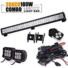 """TURBOSII DOT Approved 28""""180W 12V-24V Spot Flood Offroad Led Light Bar + 4IN Pods Cube Fog lights Auxiliary Driving Lamp On Bumper Roof Grille Windshield For UTV Truck Tacoma ATV Jeep Polaris RZR GMC"""