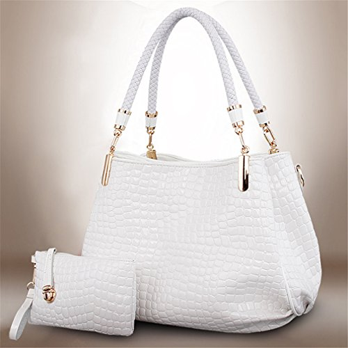 GUAngqi Women's Crocodiles Pattern Handbags Two Pieces Set Tote shoulder bag + Wallet ()