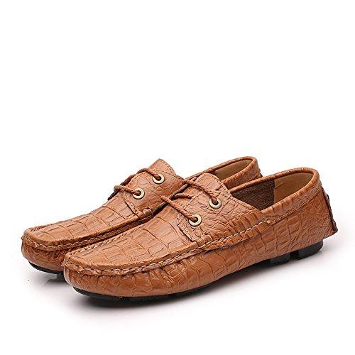 Bxde Mens Chaussures En Cuir Véritable Chaussures À Lacets Marron