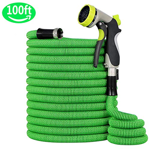 InGarden 100ft Expandable Garden Hose, Water Hose with Double Latex Core, 3/4″ Nickel Coated Solid Brass Fittings, Heavy Duty Outer Fabric, Metal 8 Function Spray Nozzle for Garden, Pets, Car Wash