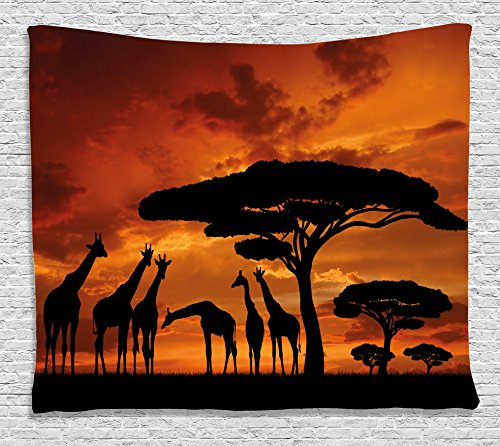Ambesonne Wildlife Decor Tapestry by, Safari with Giraffe Crew with Majestic Tree at Sunrise in Kenya, Wall Hanging for Bedroom Living Room Dorm, 80WX60L Inches, Burnt Orange Black