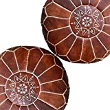 Set of 2 Amazing Moroccan pouf Dark Browny color,Best offer,Ottomans Poffes,Footstool poufs,100% handmade leather poof Home gifts, wedding gifts, foot stool,Ready to magic your living room! Moroccan Leather Pouf Ottoman BROWNY