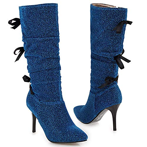 Stiletto Calf 2 Boots Blue Mid Women Fashion Taoffen wqTHn