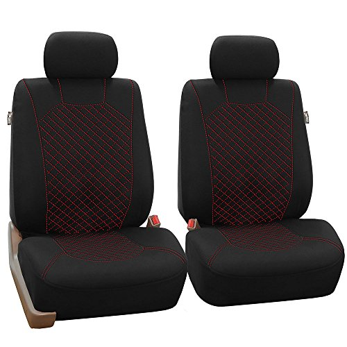FH GROUP FH-FB066102 Ornate Diamond Stitching Car Seat Covers Red / Black Color- Fit Most Car, Truck, Suv, or Van by FH Group