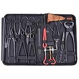 Triprel Inc Professional Lightweight Bonsai Tool Set Carbon Steel 14-pc Kit Cutter Scissors Shears Tree W/ Nylon Case
