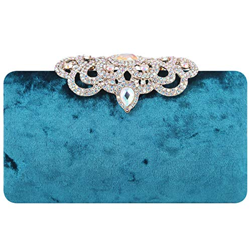 Fawziya Clutch Evening Bags Luxury Crown Rhinestone Velvet Purse-Emerald Green