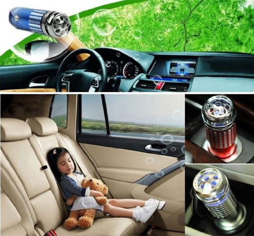 SKL Mini LED Car Auto Oxygen Bar Freshener Smoke Air Purifier ionizer Vehicle (Blue)