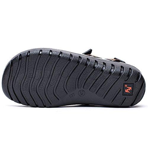 Enllerviid Hommes Velcro Sangle En Plein Air Randonnée Rivière Sport Sandales Bout Ouvert Chaussures De Leau À Séchage Rapide 137a Brun