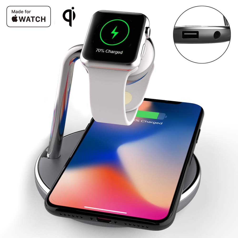 Mangotek Wireless Phone Watch Charger Pad, 3 in 1 Magnetic Watch Charging Station with USB Port for iPhone 8/8 Plus/X/X Max/X R and Apple Watch iWatch 4/3/2/1, 38mm/40mm/42mm/44mm, Mfi Certified by Mangotek (Image #1)