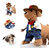 Delifur Cowboy Pet Costume with Hat Dog Costume Funny Pet Clothing Special Events Costume for Dog & Cat by (M)
