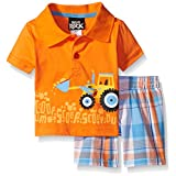Boys Rock Baby 2 Piece Short Set Tractor Polo, Orange, 12 Months