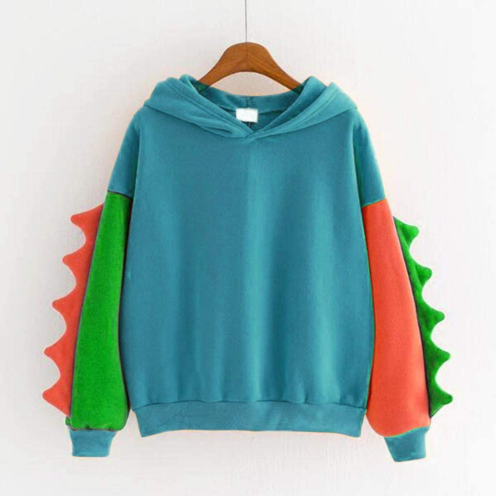 Women Loose Hoodies Sweatshirts Colourful Dinosaur Long Sleeve Casual Tops Ladies Fall Winter Fashion Pullover Splice Novelty Sleeve Plus Size Hooded Sweatshirt Blue