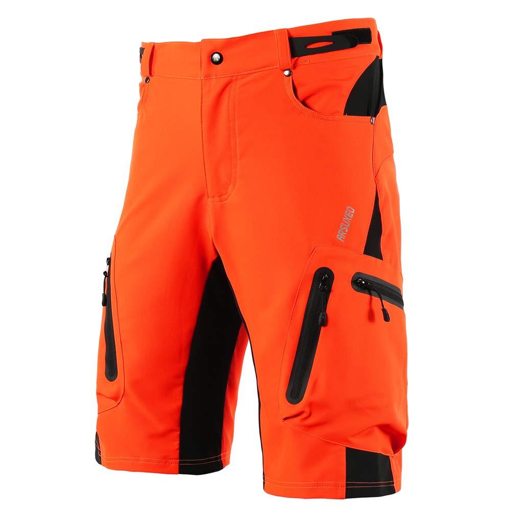 Walmeck- Baggy Shorts Radfahren Radhose Atmungsaktiv Sport Loose Fit Shorts Outdoor Casual Radfahren Laufen Kleidung mit Reißverschlusstaschen