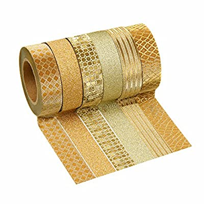 Crafty Rolls Decorative Glitter Washi Tape Set of 6 Perfect for Scrapbooking, DIY Crafts and Gift Wrapping - Large 10 Meter Length - Geometric, Striped, Circles and Solid Designs