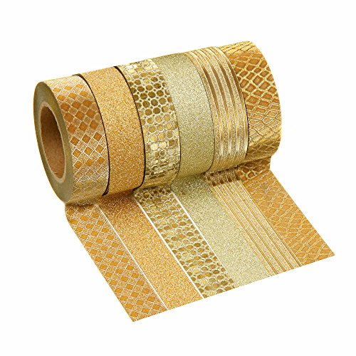 Crafty Rolls Decorative Glitter Washi Tape Set of 6 Perfect for Scrapbooking, DIY Crafts and Gift Wrapping - Large 10 Meter Length - Geometric, Striped, Circles and Solid Designs - Gold