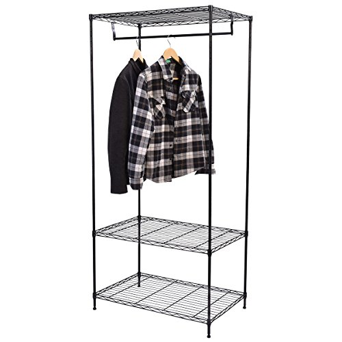 PROSPERLY U.S.Product 3-Tier Clothing Garment Rack Hanger Shelving Wire Shelf Dress Wardrobe - Jose Macy's San Ca