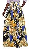 Jaycargogo Womens Ruched Africa Ethnic Style Print Swing Maxi Skirts 2 XS