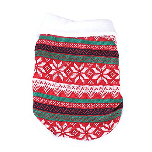 Idepet Pet Dog Cat Christmas Sweater,Snowflake Style Pet Holiday Festive Coat Jacket Puppy Winter Warm Clothes (S, Red) (Snowflake Cat)